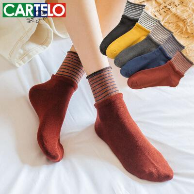 卡帝乐鳄鱼DH纯棉袜子女士假两件松口中筒女袜 78%全棉秋冬堆堆袜