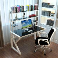 钢化玻璃电脑桌不锈钢烤漆办公桌简约电脑台式家用书桌带书架