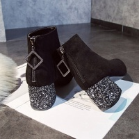 鞋子女2018新款女鞋亮片粗跟绒面短靴显瘦马丁靴女冬弹力瘦瘦靴子 黑色