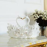 陶瓷工艺品天鹅摆件家居饰品客厅电视装饰柜创意实用闺蜜结婚礼物
