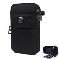 5.5寸6寸男穿皮带手机腰包竖款手机包牛津布女斜跨小包包户外腰包 黑色-6寸 18X10X4 CM