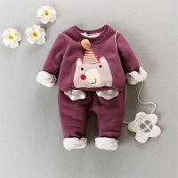 秋装加绒加厚女童套装保暖1-2岁3女宝宝两件套婴儿卫衣套头休闲 A10S-小熊紫色
