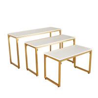 北欧展示台铁艺实木桌子服装鞋包包展示桌展示台流水台时尚中岛台 金色3件套 纳米金色