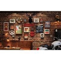 工业风照片墙壁挂钟表麋鹿头挂墙创意相片墙组合相框墙面装饰画框