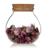 红兔子玻璃茶叶罐储物罐 透明无铅 干果收纳罐 软木塞花草茶罐密封罐