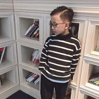 2017新款韩版装儿童装男童高领条纹加绒毛衣中大童打底针织衫潮 条纹