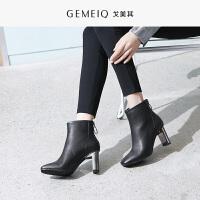 戈美其冬新款时尚后拉链加绒方头高跟时装女短筒靴保暖休闲女靴子