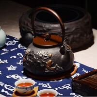 红兔子仿日本老铁壶南部生铁壶铁壶连年有鱼铸铁壶茶壶煮水壶电陶炉茶炉铸铁电茶炉茶具光波电磁炉家用煮茶炉