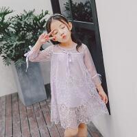童装新款2018女童春装连衣裙儿童袖蕾丝花边公主裙
