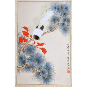 现代工笔花鸟画名家   田世光《松寿延年》