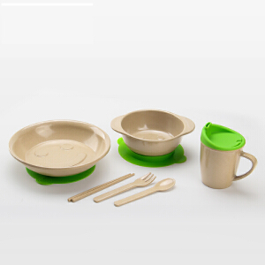 当当优品 壳氏唯稻壳环保儿童餐具套装 筷叉勺水杯进口宝宝婴儿吸盘碗 3(草绿)