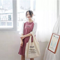 韩版简约字母小清新帆布袋斜跨女包跨包手提文艺单肩学生帆布包