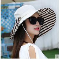 户外防晒遮阳帽旅游韩版骑车可折叠沙滩帽帽子女夏天季太阳帽大沿
