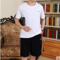 男短袖短裤男士运动套装 跑步 加肥加大码中老年运动服套装