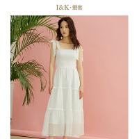【3折到手价:150元】爱客白色一字领吊带裙2019夏季 很仙的雪纺连衣裙女