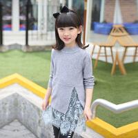 2017女童秋装中长款毛衣针织衫子母女装打底衫蕾丝花边毛衣