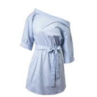 女装批发 时尚显瘦收腰条纹露肩一字领连衣裙系带短袖衬衫裙