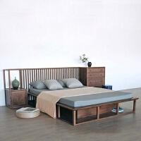 新中式家具实木双人床胡桃木色卧室大床客栈民宿酒店禅意家具 其他