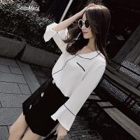 雪纺衫女长袖2018春装新款韩范宽松遮肚子喇叭袖心机白色衬衫女夏 白色 S