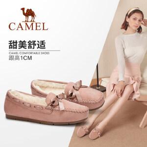 骆驼女鞋新款秋季甜美休闲平底单鞋韩版百搭舒适软底豆豆鞋