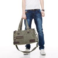 吉野新款男包包休闲帆布包韩版复古男士大包包手提包单肩包斜挎包加厚帆布旅行包大容量运动男包包2012A1