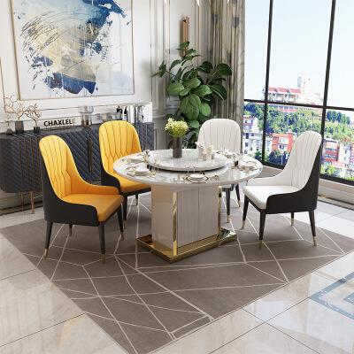 意式轻奢可伸缩折叠餐桌椅组合组合圆饭桌后现代网红家用变形桌椅带功能