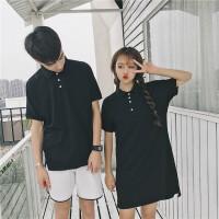情侣装夏装2018新款韩版纯色宽松显瘦POLO衫短袖T恤连衣裙女学生