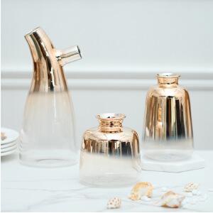 【每满100减50】幸阁 插花美式发泡镀金渐变玻璃花瓶 摆件干花花瓶