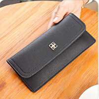 女长款薄款钱包荔枝纹学生时尚手拿包零钱包卡包