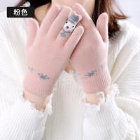 手套女冬韩版双层毛绒触屏分指女士时尚加绒加厚保暖开车保暖手套