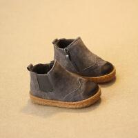 儿童马丁靴男童雪地靴女童棉鞋小宝宝棉靴韩版真皮童鞋1-2-3岁潮 灰色 棉鞋