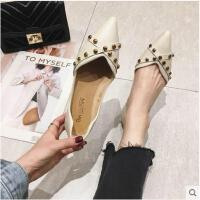 春季新款铆钉单鞋尖头平底鞋子女浅口瓢鞋软底淑女鞋豆豆鞋