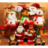 圣诞装饰品 圣诞摆件 圣诞伸缩老人雪人 布艺娃娃 圣诞场景装饰