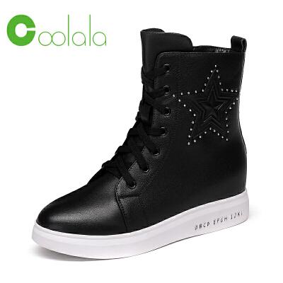 红蜻蜓coolala冬季新款高帮休闲女鞋平底鞋时尚中筒靴女鞋
