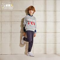【3折价:71.7】小虎宝儿男童时尚运动套装宽松两件套2019新款春装儿童纯棉卫衣潮