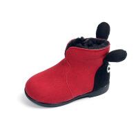 女宝宝靴子2017新款秋短靴女童棉靴加绒小女孩公主鞋1-3岁韩版6 红色大棉 21码内长13.2cm