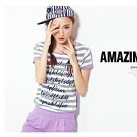 休闲套装 条纹 韩版女 运动服女 七分裤 短袖 运动 套装