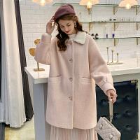 【2件6.8折到手价198】【叠加200-40,400-80】MG小象粉色毛呢外套中长款大衣女2019流行新款小个子呢