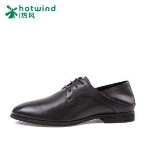 热风hotwind2018新款男鞋皮鞋平跟简约牛皮系带男士正装鞋H43M7106
