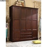 美式大衣柜实木4门3门整体大衣柜四门卧室家具衣柜平开门衣帽间