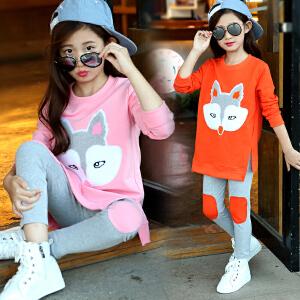 童装2019春秋季新款韩版女童狐狸套装中大童时尚休闲两件套