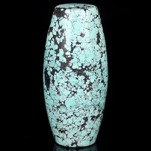 原矿高瓷绿松石单颗网花桶珠 重37.04g
