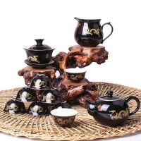 尚帝 陶瓷茶具套装 黑色陶瓷功夫茶具套装XMBH2014-093A1
