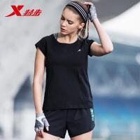 特步女装短袖针织衫2019夏季新款舒适跑步基础运动健身清爽女T恤882228019147