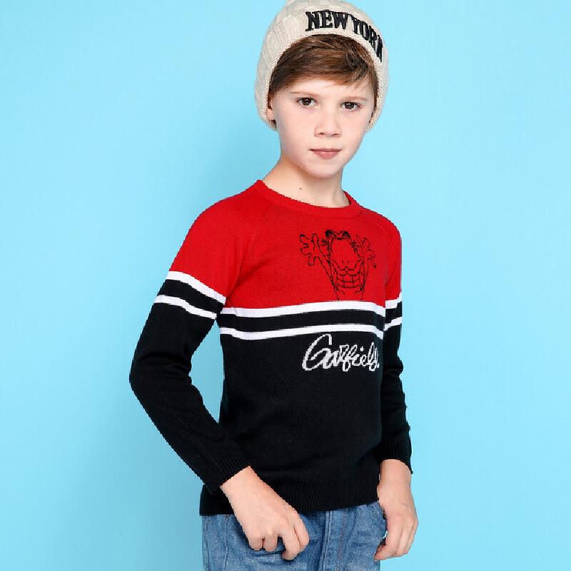 【领卷:79元选3】加菲猫童装春装男童提花针织套衫 套头棉线衫 舒适百搭GGM17561