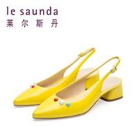 莱尔斯丹 夏专柜包头后空小方跟时尚凉鞋尖头单鞋女9M29217