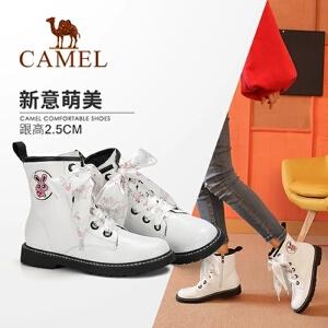 骆驼女2018冬季新款马丁靴 低跟韩版百搭靴子女粗跟防滑系带女靴