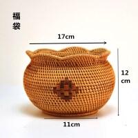 越南藤编茶点盒手工水果篮干果盘零食篮家用竹编创意桌面收纳篮