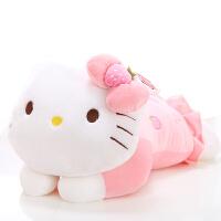 hello kitty公仔趴姿KT凯蒂猫抱枕靠枕毛绒玩具生日礼物女生