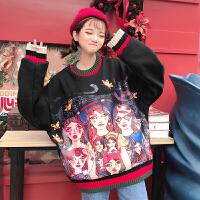 秋冬女装韩版宽松美女印花原宿风个性加厚套头卫衣外套学生上衣潮